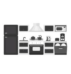 Black white color kitchen interior vector