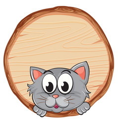 blank sign template with gray cat on white vector image