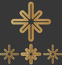 Bronze line mystic logo design set vector