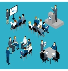 Business Training Isometric Set vector image