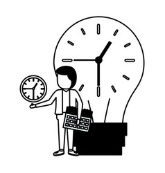 businessman bulb clock time vector image