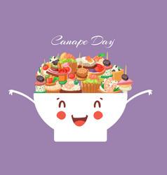 Canapes tapas appetizer cute kawaii bowl vector