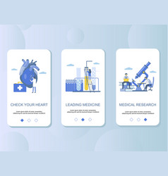 cardiology mobile app onboarding screens vector image