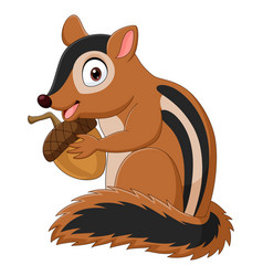 cartoon chipmunk holding an acorn vector image