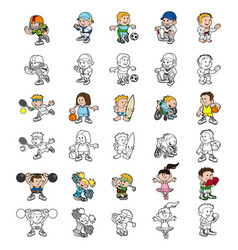 Cartoon people playing sports vector