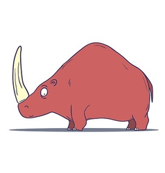 Cartoon Prehistoric Rhino isolated on white vector image