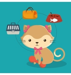 cat cartoon pet design vector image