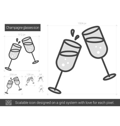 Champagne glasses line icon vector
