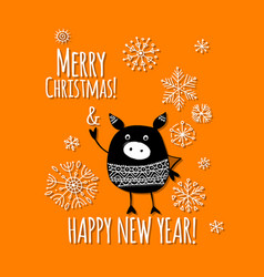 Christmas card with funny pig symbol of 2019 year vector