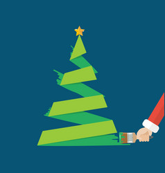 christmas tree is painted paint brush vector image