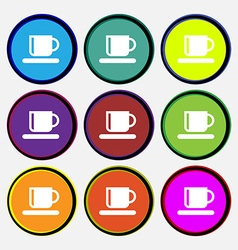 Coffee cup icon sign Nine multi-colored round vector