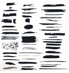 collection painted grunge ink strokes vector image