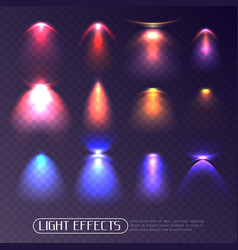 Colored light effects transparent set vector