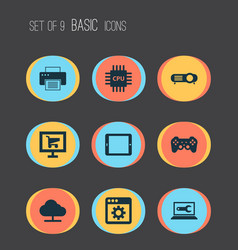 computer icons set with tablet projector gamepad vector image