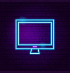 Computer neon label vector