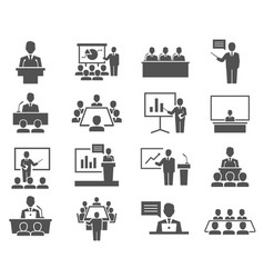 conference meeting icons set isolated on white vector image
