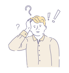 confused man having doubts with question mark vector image