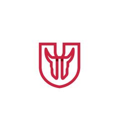 creative abstract bull shield logo vector image