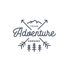 crossed arrows with mountain and pine tree line vector image