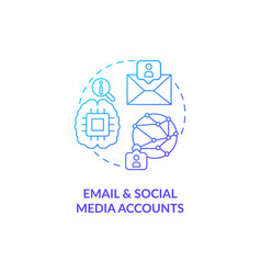 email and social media account blue gradient vector image