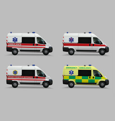 emergency ambulance set special medical vehicles vector image