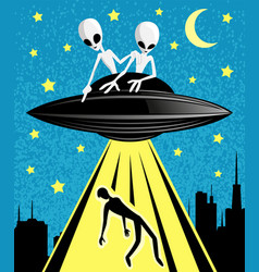 Extraterrestrial aliens abducting a person vector