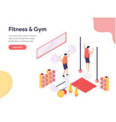 fitness and gym room concept isometric design vector image