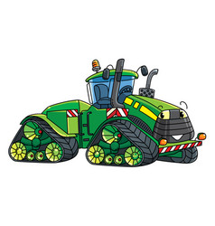 Funny big tractor with eyes vector