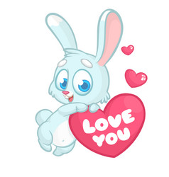 funny cartoon bunny rabbit with heart vector image