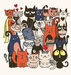 Funny hand drawn cats animals with adorable vector