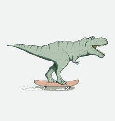 Funny tyrannosaur rides on skateboard vector