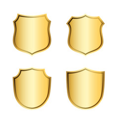 Gold shield shape icons set 3d golden emblem vector