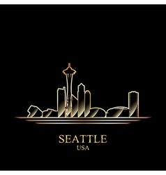 Gold silhouette of Seattle on black background vector