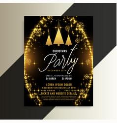 golden sparkles shiny christmas flyer template vector image