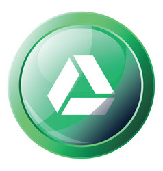 Google drive green logo button with a round frame vector