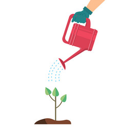 Hand holding a watering can vector