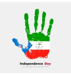 Handprint with the Flag of Equatorial Guinea in vector image