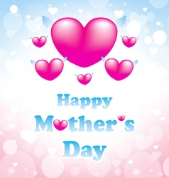 happy mothers day greeting card with heart pink vector image