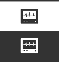 heart rate monitor icon on black and white vector image