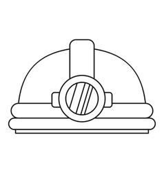 Helmet with light icon outline style vector