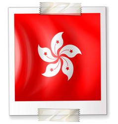 hongkong flag on square paper vector image