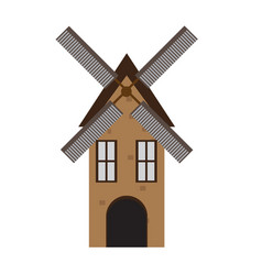 isolated medieval windmill building icon vector image