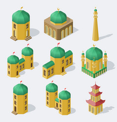 isometric asian buildings set vector image