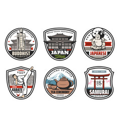 japan culture and tradition icons vector image