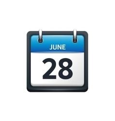June 28 Calendar icon flat vector