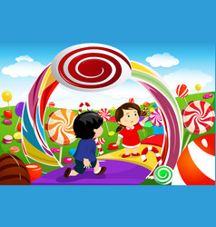 Kids playing in a candy land vector