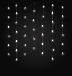 lighting garland on dark background glowing lamps vector image