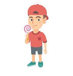 little caucasian boy holding a lollipop candy vector image