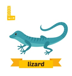 Lizard L letter Cute children animal alphabet in vector image