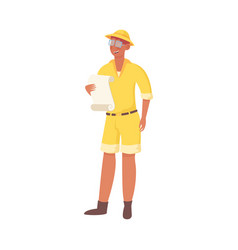 Man archaeologist in yellow clothing holding vector